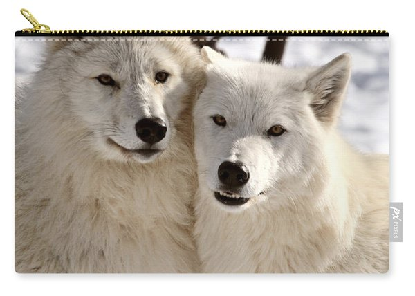 Arctic Wolves Close Together In Winter Carry-all Pouch