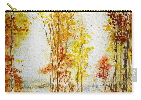 Autumn Forest Falling Leaves Carry-all Pouch