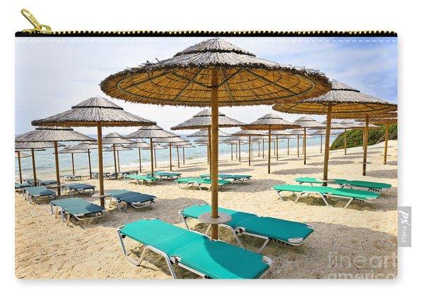 Beach Umbrellas On Sandy Seashore Carry-all Pouch