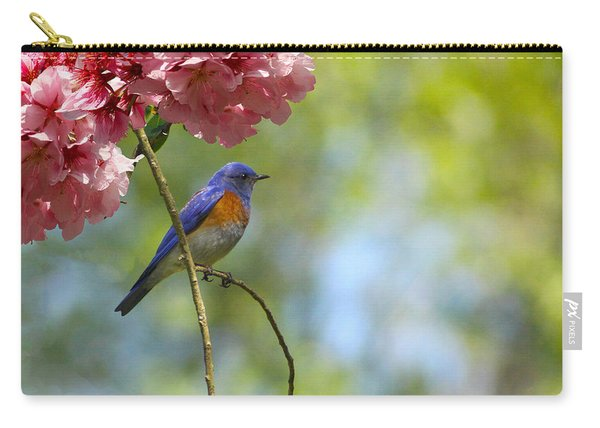 Bluebird In Cherry Tree Carry-all Pouch