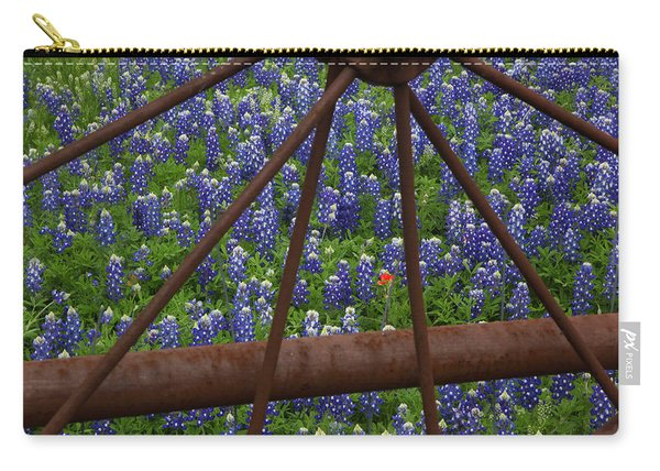 Bluebonnets And Rusted Iron Wheel Carry-all Pouch
