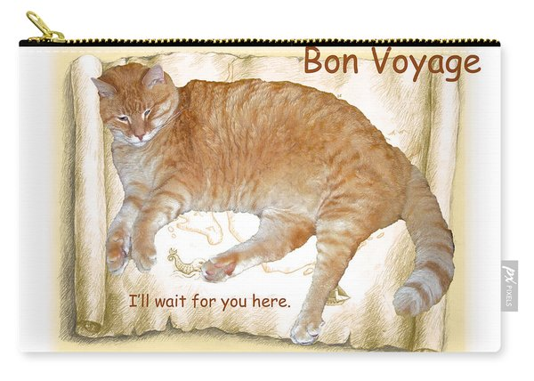 Bon Voyage Card - Cat Stays Home Carry-all Pouch