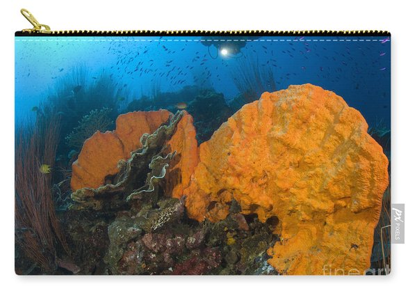 Bright Orange Sponge With Diver Carry-all Pouch