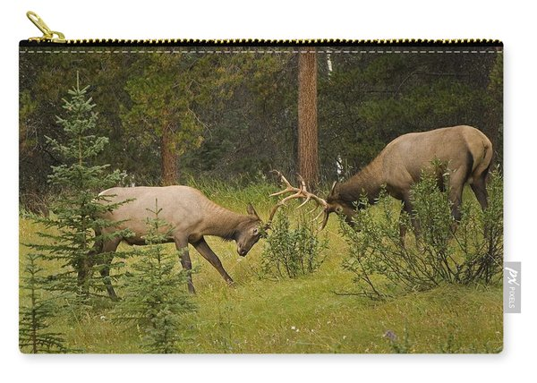 Bull Elk Fighting, Banff National Park Carry-all Pouch