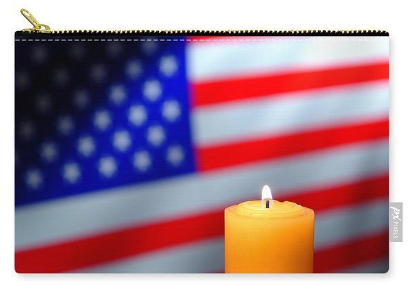Candle And American Flag Carry-all Pouch