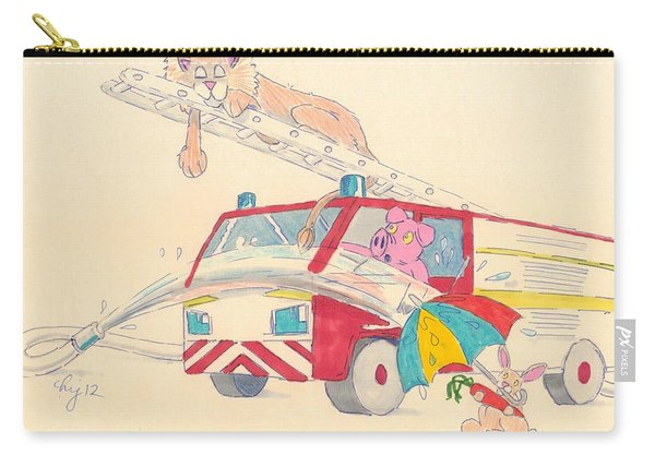 Cartoon Fire Engine And Animals Carry-all Pouch