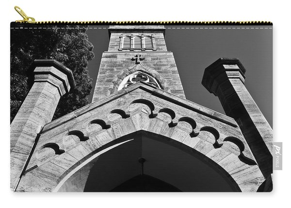 Church Facade In Black And White Carry-all Pouch