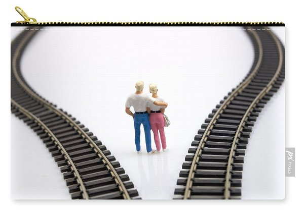 Couple Two Figurines Between Two Tracks Leading Into Different Directions Symbolic Image For Making Decisions Carry-all Pouch