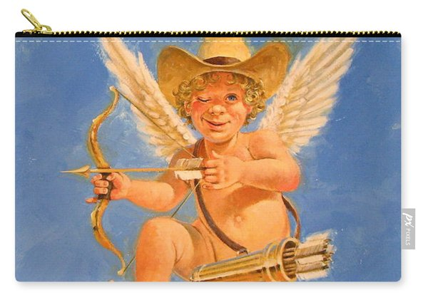 Carry-all Pouch featuring the painting Cow Kid Cupid by Cliff Spohn