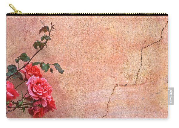 Cracked Wall And Rose Carry-all Pouch