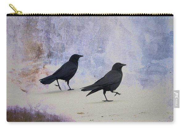 Crows Walking On The Beach Carry-all Pouch