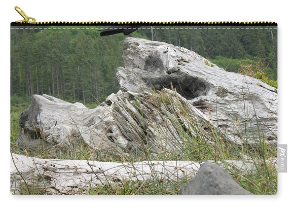 Carry-all Pouch featuring the photograph Dandelion Crow - On Oregon Coast Driftwood  by Cliff Spohn