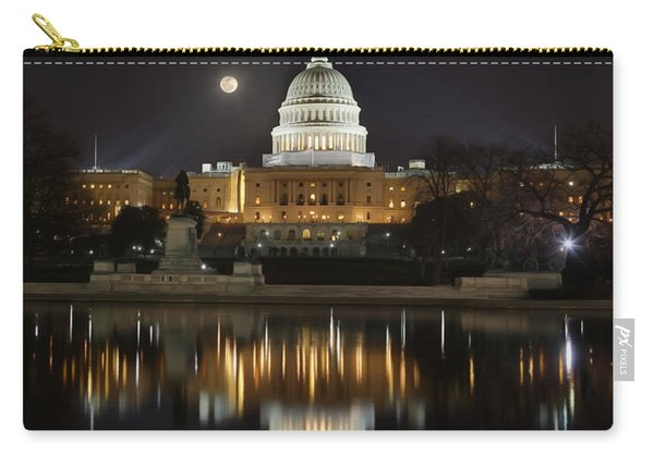 Digital Liquid - Full Moon At The Us Capitol Carry-all Pouch