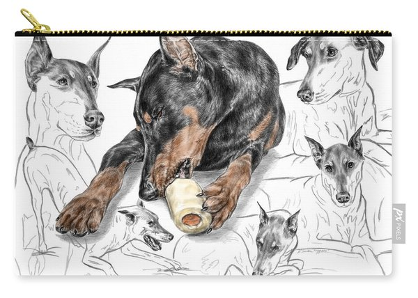 Dober-thoughts - Doberman Pinscher Montage Print Color Tinted Carry-all Pouch