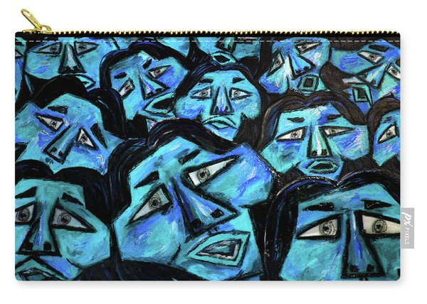 Faces - Light Blue Carry-all Pouch