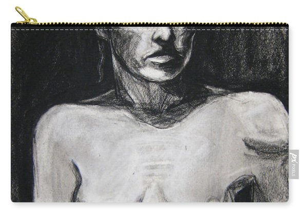 Carry-all Pouch featuring the drawing Feathers by Gabrielle Wilson-Sealy