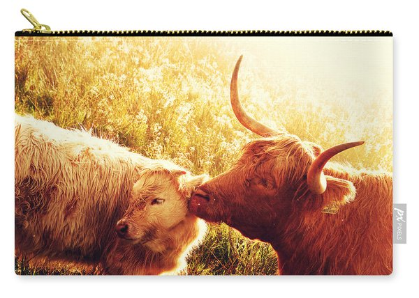 Fenella With Her Daughter. Highland Cows. Scotland Carry-all Pouch