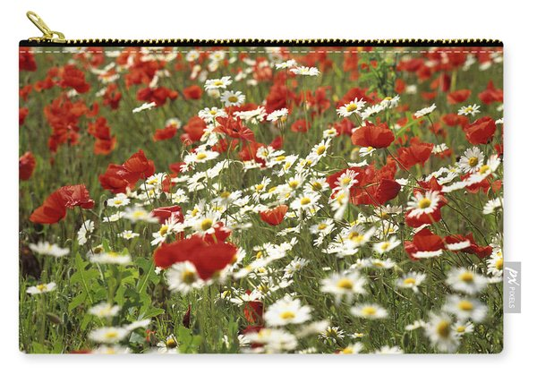 Field Of Poppies And Daisies In Limagne  Auvergne. France Carry-all Pouch