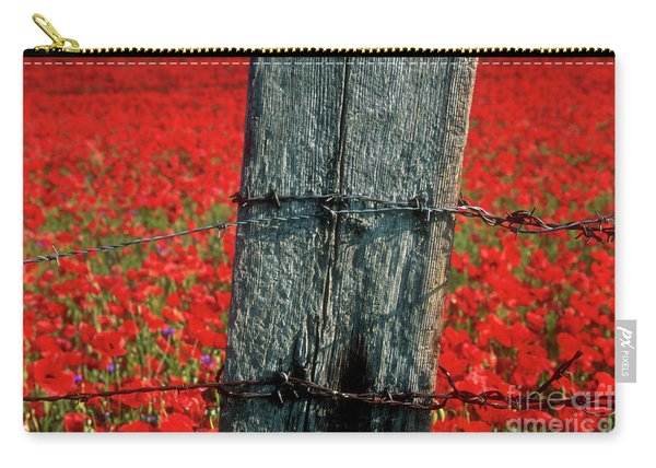 Field Of Poppies With A Wooden Post. Carry-all Pouch