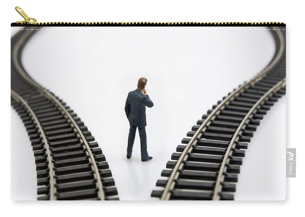 Figurine Between Two Tracks Leading Into Different Directions  Symbolic Image For Making Decisions Carry-all Pouch