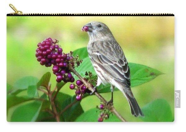 Finch Eating Beautyberry Carry-all Pouch