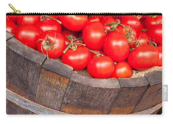 Fresh Red Tomatoes In A Wooden Bucket Carry-all Pouch