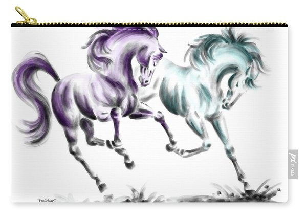 Frolicking - Wild Horses Print Color Tinted Carry-all Pouch