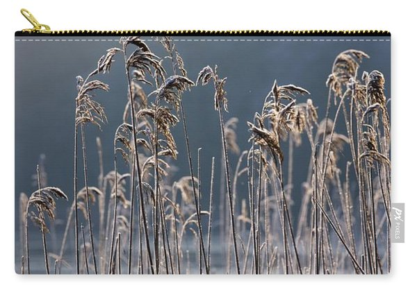 Frozen Reeds At The Shore Of A Lake Carry-all Pouch