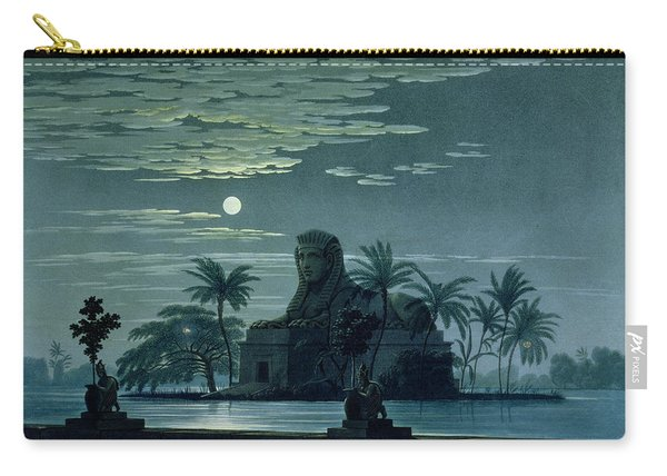 Garden Scene With The Sphinx In Moonlight Carry-all Pouch