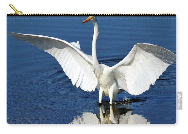 Great White Egret Spreading Its Wings Carry-all Pouch