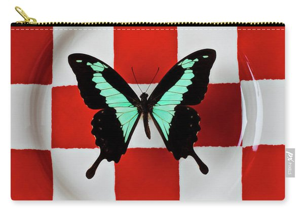Green And Black Butterfly On Red Checker Plate Carry-all Pouch
