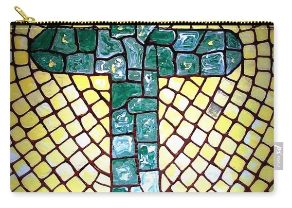 Carry-all Pouch featuring the painting Green Cross by Cynthia Amaral