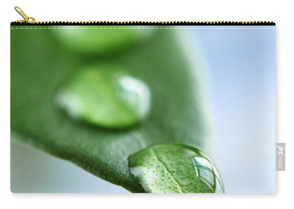 Green Leaf With Water Drops Carry-all Pouch