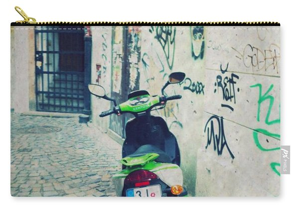 Green Vespa In Prague Carry-all Pouch
