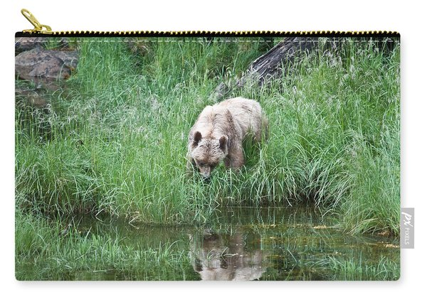Grizzly Bear And Reflection On Prince Rupert Island Canada 2209 Carry-all Pouch