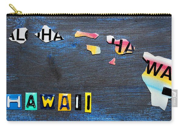 Hawaii License Plate Map Carry-all Pouch