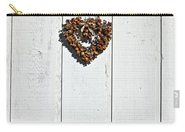 Heart Wreath On Wood Wall Carry-all Pouch