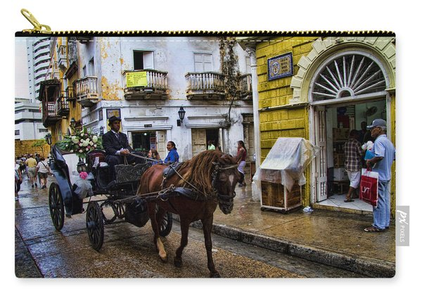 Horse And Buggy In Old Cartagena Colombia Carry-all Pouch