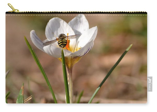 Hoverfly Visitng A Crocus Carry-all Pouch