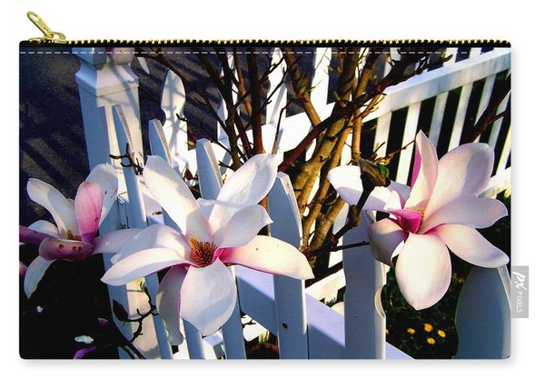 Carry-all Pouch featuring the photograph Magnolis's On A Picket Fence by Cynthia Amaral