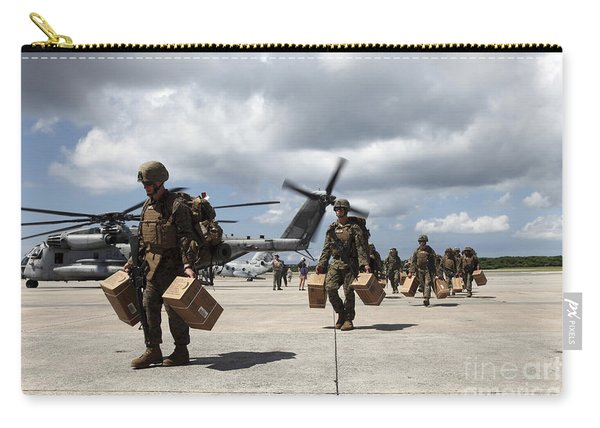 Marines Carry Supplies To A Hangar Carry-all Pouch