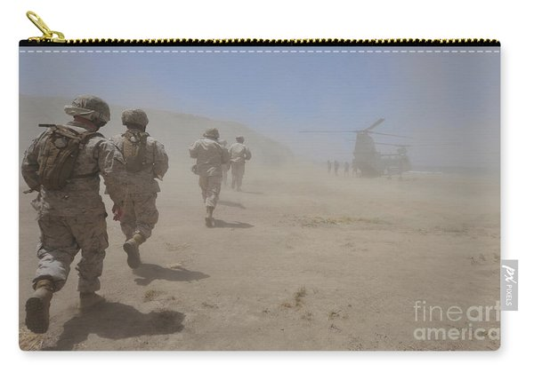 Marines Move Through A Dust Cloud Carry-all Pouch