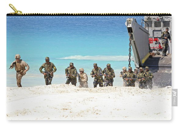 Marines Rush Ashore From A Ling Craft Carry-all Pouch