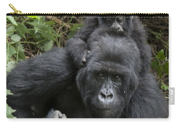 Mountain Gorilla Mother And 1.5yr Old Carry-all Pouch