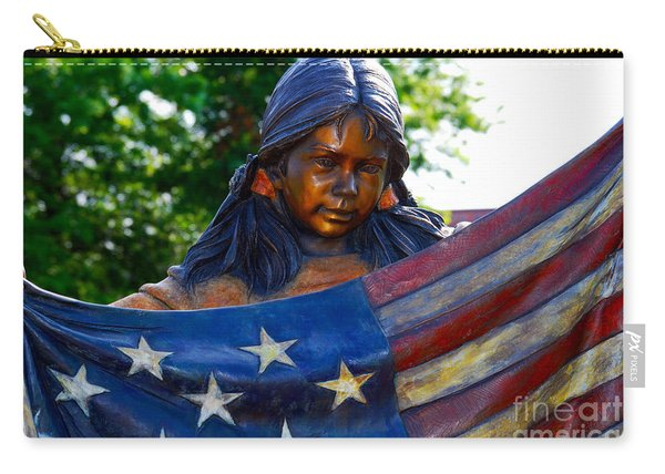 Native Girl American Flag Carry-all Pouch