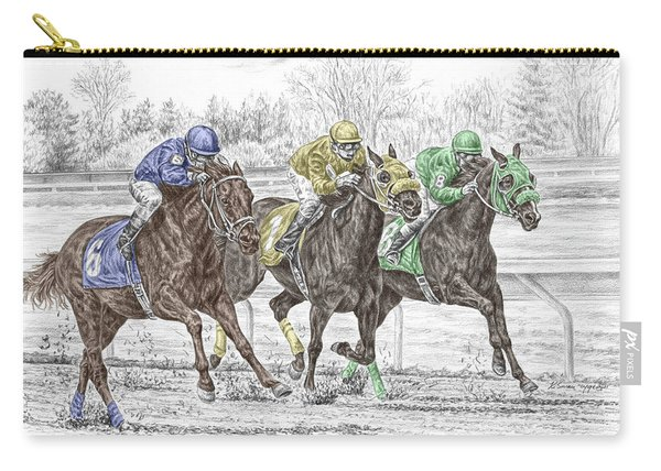 Neck And Neck - Horse Race Print Color Tinted Carry-all Pouch