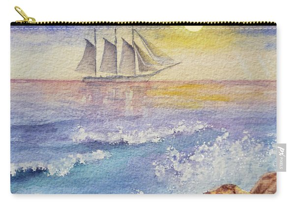 Ocean Waves And Sailing Ship Carry-all Pouch