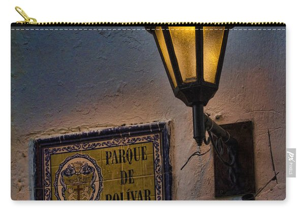 Old Lamp On A Colonial Building In Old Cartagena Colombia Carry-all Pouch