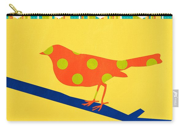 Orange Polka Dot Bird Carry-all Pouch