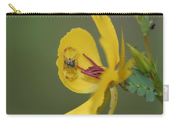 Partridge Pea And Matching Crab Spider With Prey Carry-all Pouch